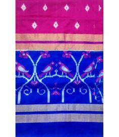 Pink Handloom Pure Ikkat Silk Saree