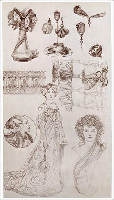 Drawings by Alphonse Mucha: Art Nouveau Belle Epoque, Design Art Nouveau, Art Deco, Images Victoriennes, Illustration Art Nouveau, Alphonse Mucha Art, Jugendstil Design, Bijoux Art Nouveau, Schmuck Design