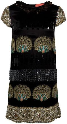 embellished black cap sleeve dress by Manoush | turquoise and gold embellishment | sequins, beading and beauty