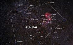 Auriga (the charioteer) is a constellation in the northern sky. Is one of the 48 constellations listed by Ptolemy. Its brightest star is Capella (α Aurigae), which is associated with the mythical Amalthea. Auriga Constellation, Constellation List, Universe Today, Bright Stars, Night Skies, Constellations, Astrology, Celestial, Greeks