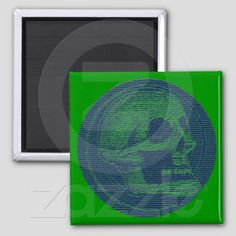 The Skull! Scan Lines Green from Zazzle.com