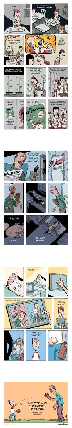 "WALT WHITMAN: O me! O Life! illustrated by Zenpencils, the third part of ""the kid"" saga (like 40 pins before, check it out)."