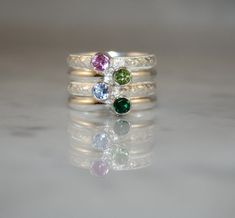 Birthstone Stacking Rings, 4 Stacking Family & Mother's Rings, 4mm Gemstones, Sterling Silver, Custom made