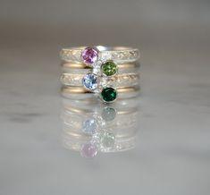 4 Gemstones, Birthstone Stacking Rings,Family & Mother's Rings, 4mm Gemstones, Sterling Silver, Custom made