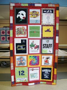 T-shirt quilt designed by Keepsake Threads and quilted by Nancy Scott at Masterpiece Quilting.