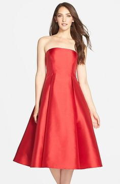 Adrianna Papell Strapless Mikado Fit & Flare Midi Dress available at #Nordstrom