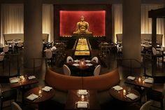 The dramatic Buddha statue at Stephen Starr's original Buddakan in Old City, Philadelphia.