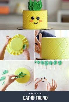 Watch This Cake Transform Into an Adorable Pineapple June 2017 by MEGAN LUTZ This pineapple cake is the perfect Summer treat! Fondant Cakes, Cupcake Cakes, Simple Fondant Cake, Fondant Figures, Beautiful Cakes, Amazing Cakes, Pinapple Cake, Pinapple Birthday Cake, Flamingo Cake