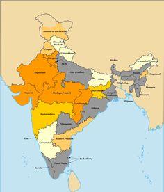 Carte régions indiennes et vote BJP