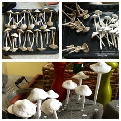 Mushroom Factory: creating clay mushrooms for wedding centerpieces