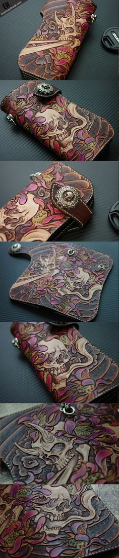 Handmade men Skull carved leather biker wallet link:http://www.everhandmade.com/collections/