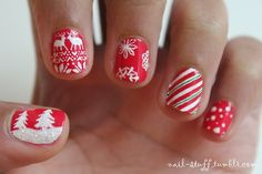 Christmas nails! I'll post more holiday nails throughout the month, but I just wanted to get everyone into the holiday spirit!  For the background I used Totally Red-ical by Nicole by OPI