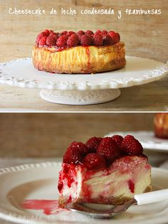 Cheesecake with condensed milk and raspberries - Cheesecake with condensed milk and raspberries -
