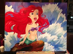 Amazing DIY Canvas Photo Collage Ideas Easy to Make - Banning News Disney Princess Paintings, Disney Paintings, Diy Canvas, Canvas Art, Acrylic Paintings, The Little Mermaid, Little Mermaid Painting, Tea Art, Photo Canvas