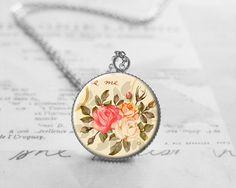 Vintage Flower Necklace, Nature Necklace, N771