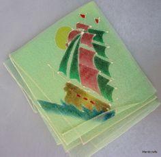Handkerchief Sheer Taffeta Nylon Ship Clipper Schooner Hand Painted Green Vtg