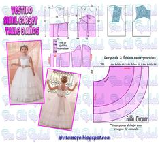 KiVita MoYo : VESTIDO SIMIL CORSET - 8años Kids Dress Patterns, Sewing Patterns For Kids, Sewing For Kids, Baby Sewing, Clothing Patterns, Sewing Clothes, Doll Clothes, Make Your Own Clothes, Girls Party Dress