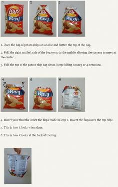 how to fold a chip bag; tried it and it really works! No more hunting for clips!