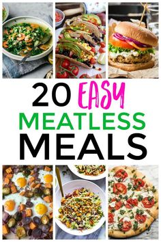 With these 20+ Easy Meatless Meals, you're going to have plenty of ideas to choose from. These are not only tasty, but a great way to stretch your budget. Spicy Recipes, Slow Cooker Recipes, Yummy Recipes, Cooking Recipes, Healthy Recipes, Vegan Fajitas, Easy Dinner Recipes, Easy Meals, Veggie Frittata