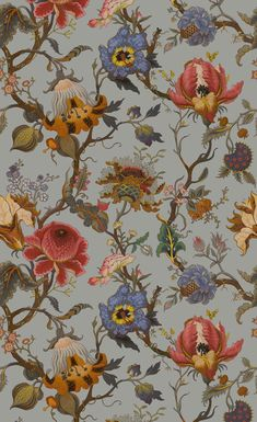 House Of Hackney Artemis Dove Grey Wallpaper Grey Wallpaper, Print Wallpaper, Home Wallpaper, Pattern Wallpaper, House Of Hackney Wallpaper, Hippie Art, My New Room, Aesthetic Art, Wall Collage