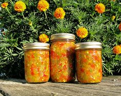 HOT Pepper Relish with the flavor of mexican corn relish.I use this always in my chili and tacos.now that I& run out, my dishes don& taste right :( Canning 101, Home Canning, Canning Jars, Canning Recipes, Relish Recipes, Jam Recipes, Yummy Recipes, Dinner Recipes, Yummy Food