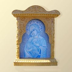 Jesus Wall Art wall art wood carving, virgin mary and jesus, orthodox christian