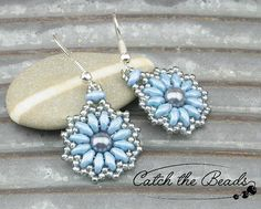Blue and White Beaded Earrings with Glass Pearl by CatchTheBeads