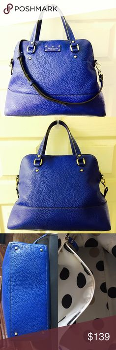 "Kate Spade Grove Court  Maise Crossbody Handbag Yves blue color, pebbled leather and absolutely gorgeous. Excellent condition and clean. Comes with the dust bag. Measurement; 12"" H, 14"" W, 4.5"" D. 6"" drop on the handles, strap 17.5"" - 19.5"" adjustable. kate spade Bags Crossbody Bags"