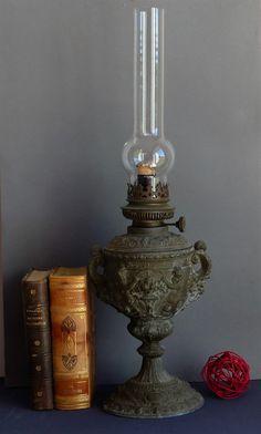 Vintage French Spelter Oil Lamp. Vintage Kerosene Lamp. Paraffin Lamp. Petrol Lamp. CHRISTMAS GIFT.  French. Vintage. by JadisInTimesPast on Etsy