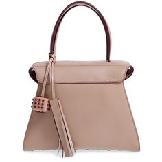 Women's Tod'S 'Twin' Leather Satchel (7.651.920 COP) ❤ liked on Polyvore featuring bags, handbags, ceramica, brown leather satchel, handbag satchel, brown leather handbags, brown leather purse and genuine leather handbags