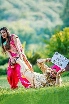 save the date ideas funny save the date ideas save the proposal date Pre Wedding Shoot Ideas, Pre Wedding Poses, Pre Wedding Photoshoot, Wedding Photo Props, Photoshoot Ideas, Funny Save The Dates, Save The Date Pictures, Indian Wedding Photography Poses, Funny Couple Photography