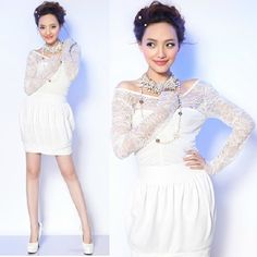 Hipster White Lace Long Sleeve Short Bubble Modern Wedding Party Dress SKU-166079