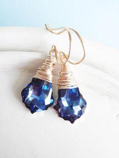 Swarovski Crystal Earrings Teardrop Wire Wrapped by linkeldesigns
