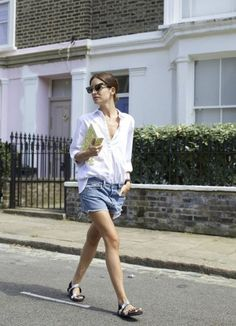 button down shirt with denim shorts