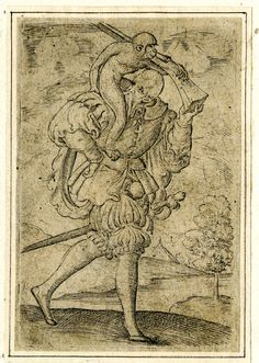 Playing-card, the jack of monkeys -- Print made by Virgil Solis, c.1550