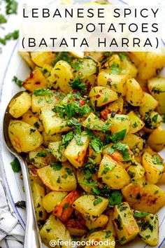 Batata Harra is a Lebanese spicy potatoes side dish that& full of flavor. Easy to make and perfect to serve as part of a mezze or with grilled meat dishes! Potato Sides, Potato Side Dishes, Vegetable Dishes, Indian Vegetable Side Dish, Sprouts Vegetable, Side Dish Recipes, Vegetable Recipes, Vegetarian Recipes, Healthy Recipes