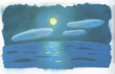 Clouds over ocean in a moonlit night. The clouds look like a child's evocation of clouds. Ponyo (2008) Background Designs http://livlily.blogspot.hu/2012/04/artworks-of-hayao-miyazaki-films.html