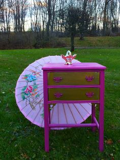 Wow! Color! Paris Boudoir Nightstand Poppy Cottage by poppycottage on Etsy, $175.00