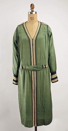 Green rayon dress, French, 1920s  ~ this wouldn't be that hard to replicate....except for finding the fabric and creating the pattern and crocheting the inserts...easy peasy