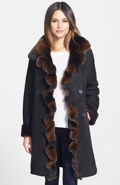 Blue Duck Genuine Shearling Coat with Genuine Rabbit Fur Trim available at #Nordstrom
