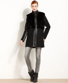 Kensie - faux fur/leather coat | reg $159 , sale $35.99 | size s,m | cheaps if you're looking for a lighter coat