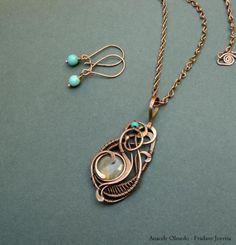 collar de cobre, labradorita y turquesa (aretes incluidos)  cobre,labradorita,turquesa wire wrapped,alambrismo