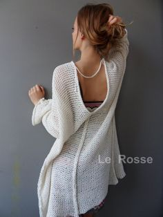 Summer women cardigan by LeRosse - knitting Loose Knit Sweaters, Summer Sweaters, Poncho Pullover, Cotton Cardigan, Cardigan En Maille, Summer Knitting, Free Knitting, Knitting Patterns, Crochet Patterns