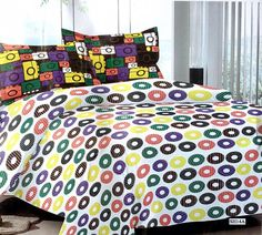 Multicolor circles 100% Cotton bedsheet