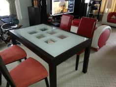 IMS COMFORT LIVING ITALIAN extendable dining table glass top comes with 4 chairs