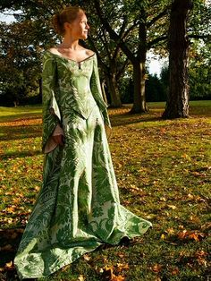 green and silver brocade medieval style wedding dress with tailored hanging sleeves
