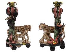 Sculptor, Bennet Zondo, and painter, Mandla Ngwenya, have captured this rhythmical scene of Zulu huntsmen climbing away from two regal leopards and their cubs. These pieces will be exhibited at the Savuti Dance Exhibition, 18th - 28th of May, 2017 at the Patrick Mavros store on the Fulham Road in London.