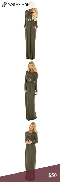 LONG SLEEVE HIGH WAIST MAXI DRESS WITH POCKETS LONG SLEEVE HIGH WAIST MAXI DRESS WITH POCKETS  Perfect for fall! Size Large 12 Pm By Mon Ami Dresses Maxi