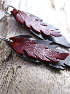 Leather Jewelry  Leather Earrings  Like the idea of layering shapes