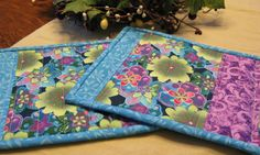 Quilted Mug Rug set of 2 vibrant floral by WarmandCozyQuilts